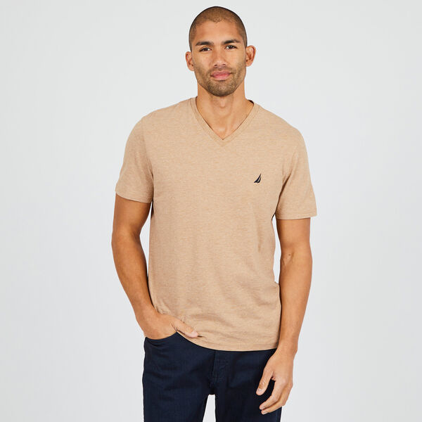 SOLID V-NECK SLIM FIT TEE  - Camel Heather