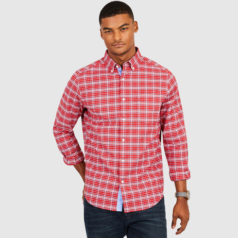 Classic Fit Multi-Plaid Long Sleeve Shirt - Rescue Red