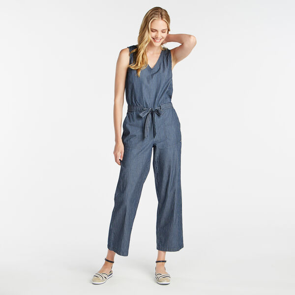 TWILL STRIPE CROPPED WIDE LEG BELTED JUMPSUIT IN SLATE INDIGO WASH - Admiral Blue