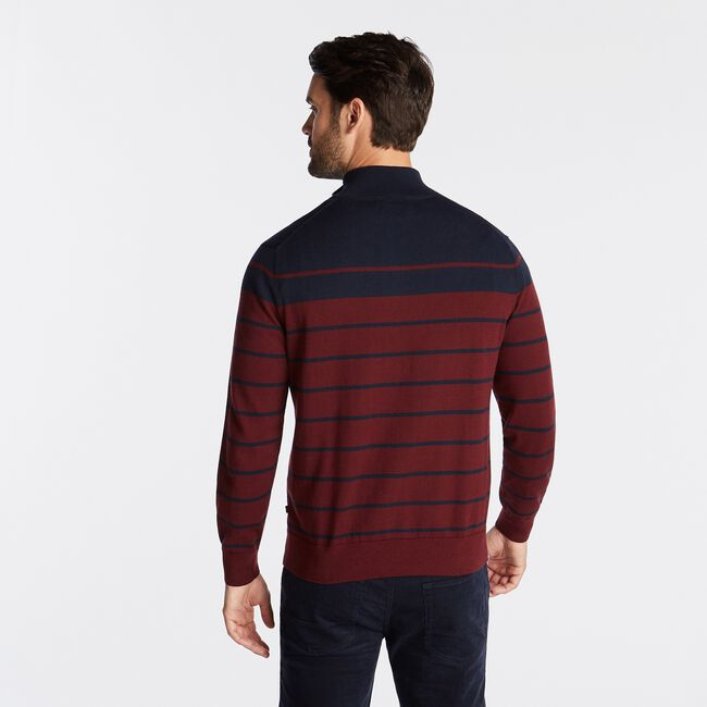 QUARTER ZIP NAVTECH SWEATER IN ENGINEERED STRIPE,Royal Burgundy,large