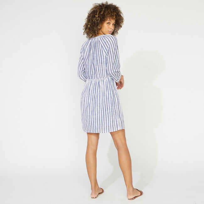 NAUTICA JEANS CO. EYELET STRIPED DRESS,Deep Navy Heather,large