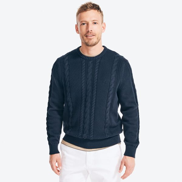 CABLE-KNIT SWEATER - Navy