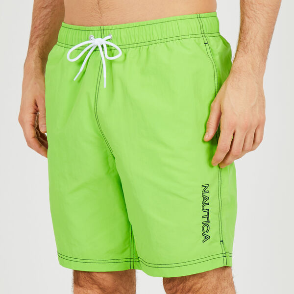 "8"" SOLID EMBROIDERED LOGO SWIM TRUNKS - Lime Surf"