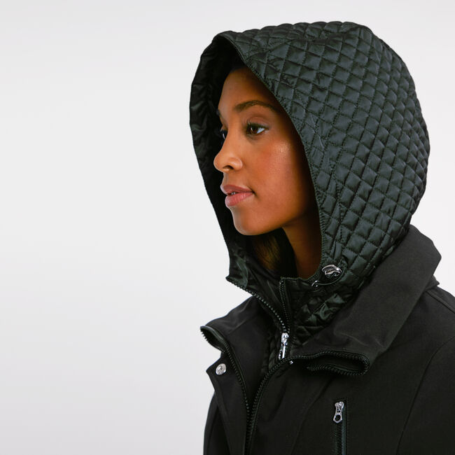Softshell Jacket with Quilted Underlay,True Black,large