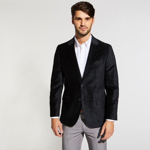 BRANFORD PAISLEY VELVET BLAZER IN NAVY - Black