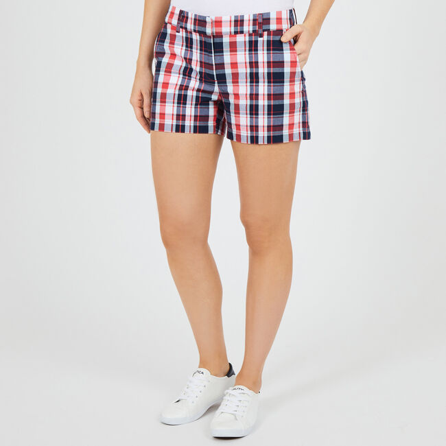"Madras Plaid Flat Front Shorts - 4"" Inseam,Ablaze,large"