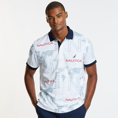 Map On Way Short Sleeve Classic Fit Tech Polo - Bright White
