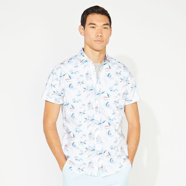 TROPICAL PRINT SHORT SLEEVE SHIRT - Bright White