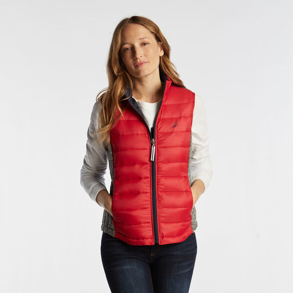 PUFFER VEST WITH TEMPASHPHERE - Tomales Red