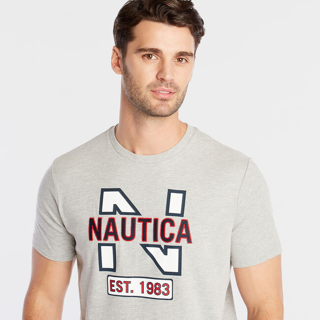 CLASSIC FIT JERSEY T-SHIRT IN LOGO APPLIQUÉ,Grey Heather,large