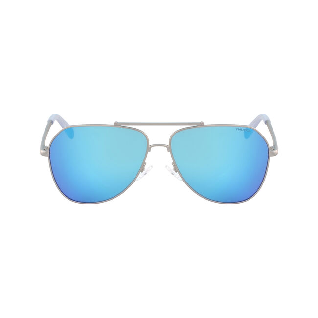 Aviator Sunglasses with Matte Frame,Silver,large