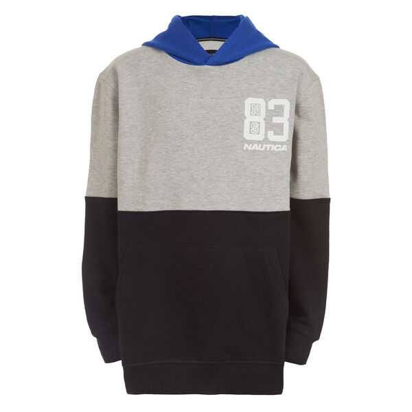 BOY'S COLORBLOCK PULLOVER HOODIE (2T - 4T) - Grey Heather