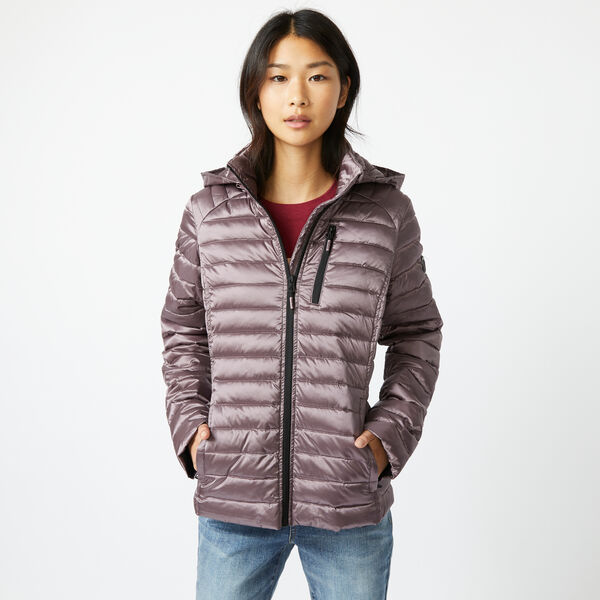 PACKABLE IRIDESCENT HOODED COAT - Edgartown Red