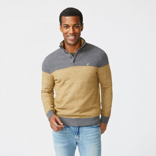 SUSTAINABLY CRAFTED COLORBLOCK SWEATER - Dark Brown