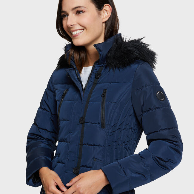 Galaxy Puffer Jacket with Faux-Fur Trim,Stellar Blue Heather,large