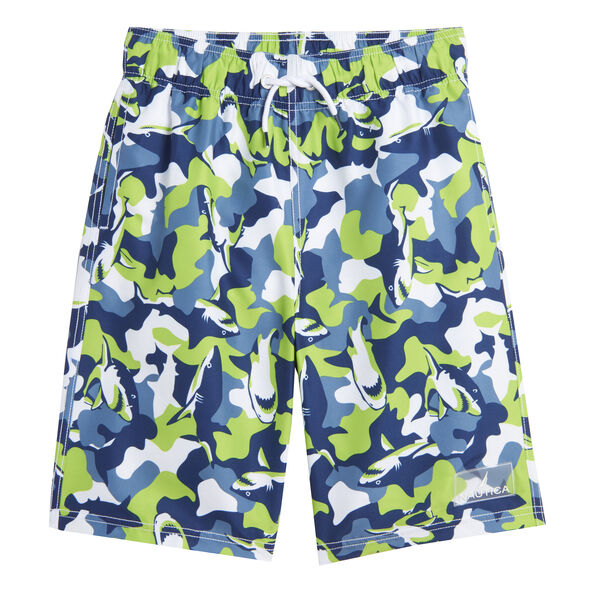BOYS' SHARK CAMOUFLAGE PRINT SWIM SHORT (8-20) - Green Terrain