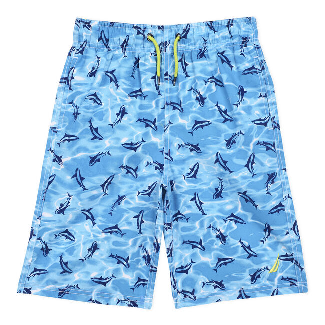 Boys' Mano Swim Trunk in Shark Print (8-20),Star Turquoise,large