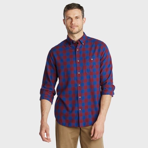 CLASSIC FIT BRUSHED TWILL SHIRT IN LARGE GINGHAM - Zinfandel