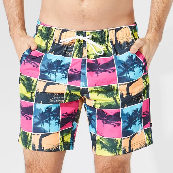 "8"" PALM TREE PHOTO PRINT SWIM SHORTS  - Rockaway Red"