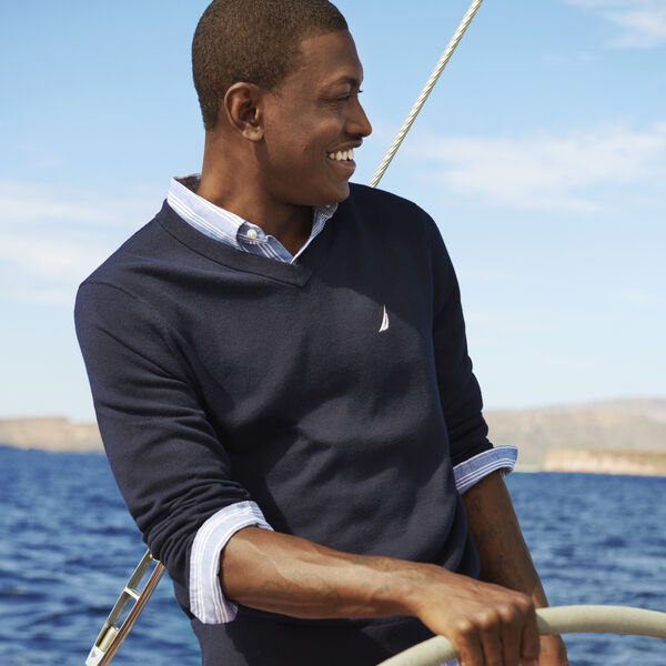 V-NECK NAVTECH SWEATER - Navy