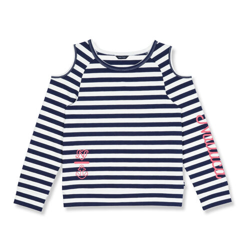 Toddler Girls' Cold Shoulder Striped French Terry Top (2T-4T) - Navy