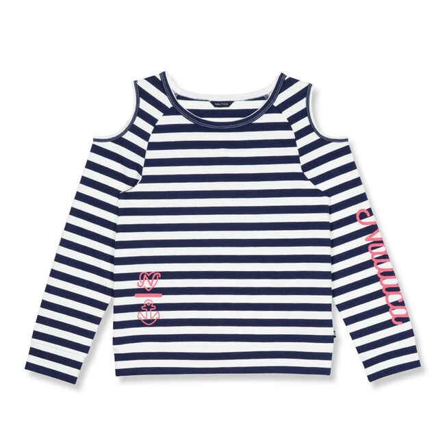Girls' Cold Shoulder Striped French Terry Top (7-16),Navy,large
