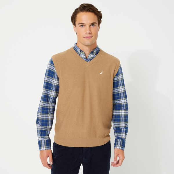BIG & TALL NAVTECH V-NECK SWEATER VEST - Dark Brown