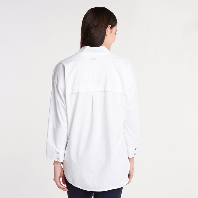 Classic Fit Mixed Media Shirt,Bright White,large