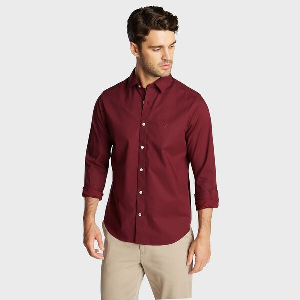 CLASSIC FIT WRINKLE RESISTANT SHIRT IN MINI PRINT - Zinfandel