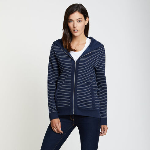 Striped Long Sleeve Full-Zip Hoodie - Deep Sea