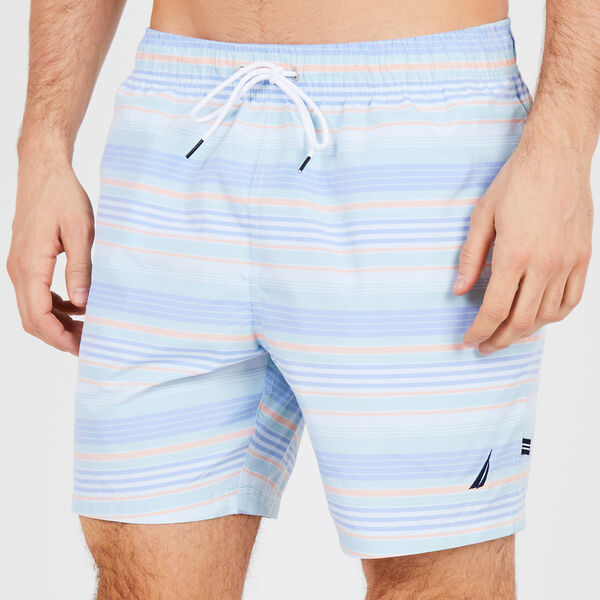 Big & Tall Summer Stripe Full-Elastic Swim Trunks - Starlight Blue