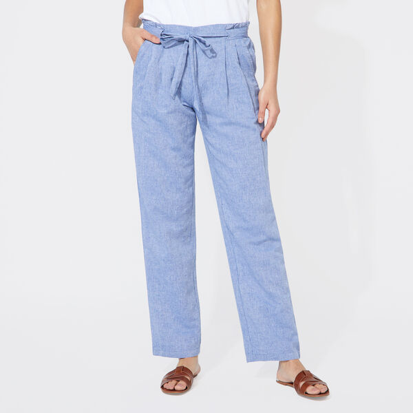 LINEN BLEND HIGH WAIST PANTS - Deep Navy Heather