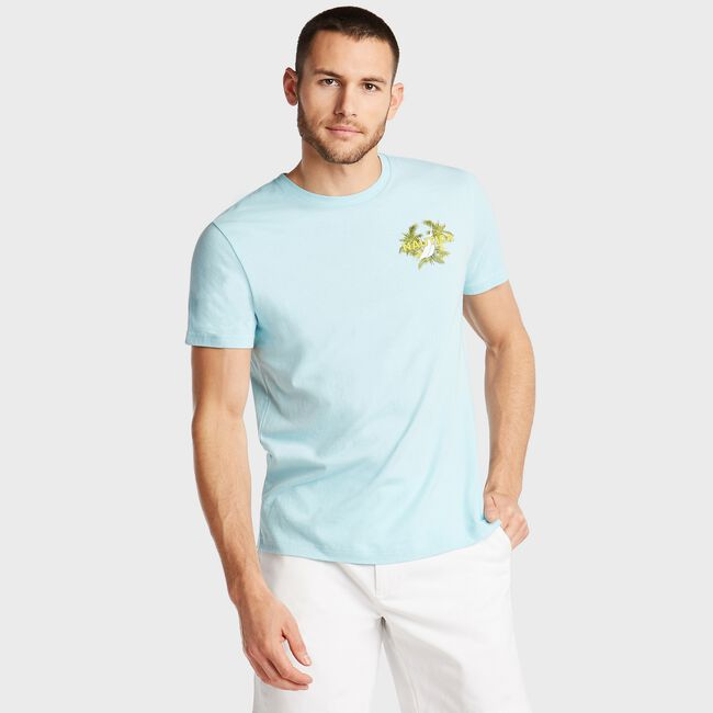 JERSEY T-SHIRT IN MERMAID SUNSET ALE GRAPHIC,Medallion Blue,large