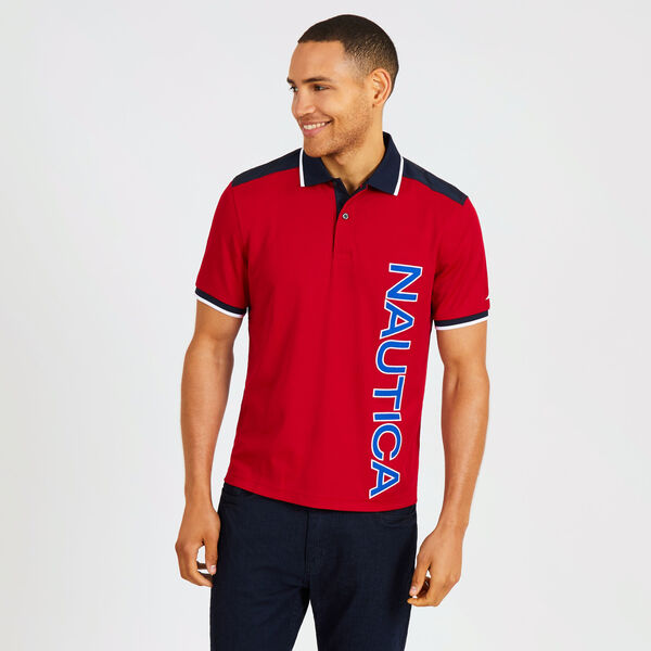 Classic Fit Tech Polo with Vertical Logo - Nautica Red