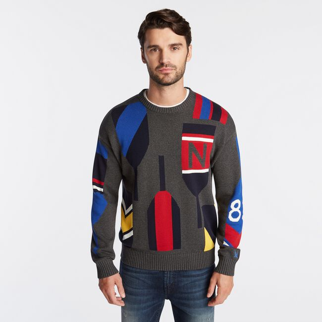 N83 INTARSIA-KNIT GRAPHIC SWEATER,Charcoal Heather,large