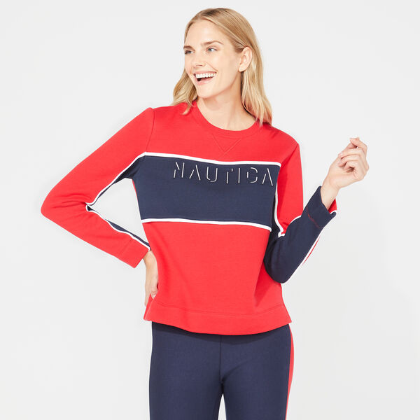 NAUTICA EMBOSSED COLORBLOCK SWEATSHIRT - Tomales Red