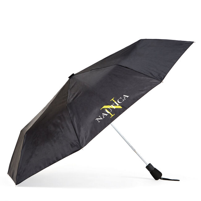 Auto-Open Compact Umbrella with Logo Accents,True Black,large