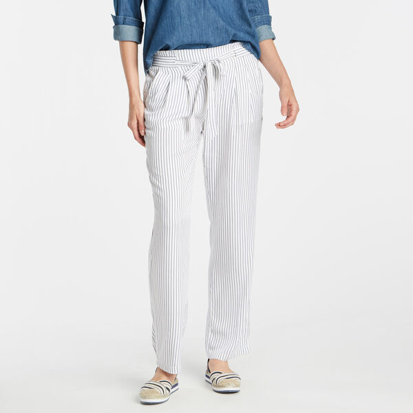 BOX PLEAT TIE-FRONT PANT - Bright White