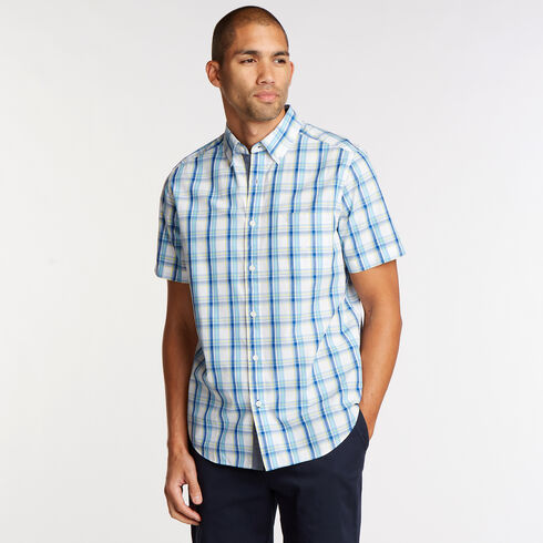 Short Sleeve Classic Fit Shirt in Plaid - Bright White