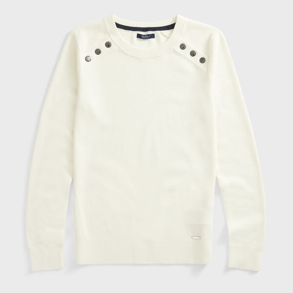 SUSTAINABLY CRAFTED RIB-KNIT SWEATER - Marshmallow