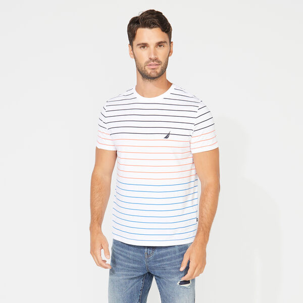 CREWNECK STRIPED T-SHIRT - Bright White