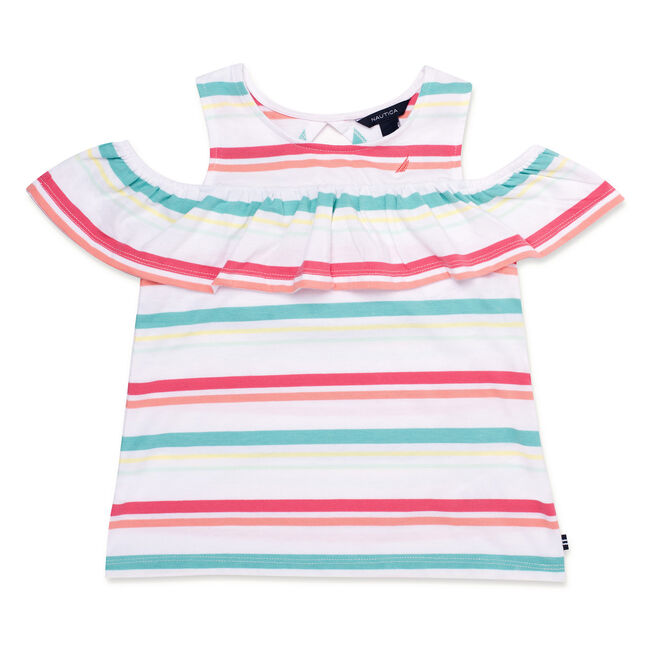 Toddler Girls' Striped Ruffled Top (2T-4T),Firey Red,large