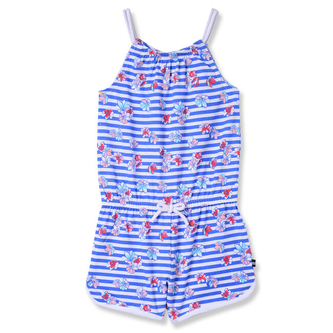 Little Girls' Floral + Striped Jersey Romper (4-6X),Classic Blue,large