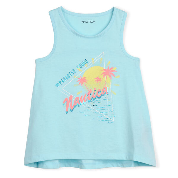 GIRL'S RETRO PARADISE TANK (7 - 16) - Clear Sky Blue