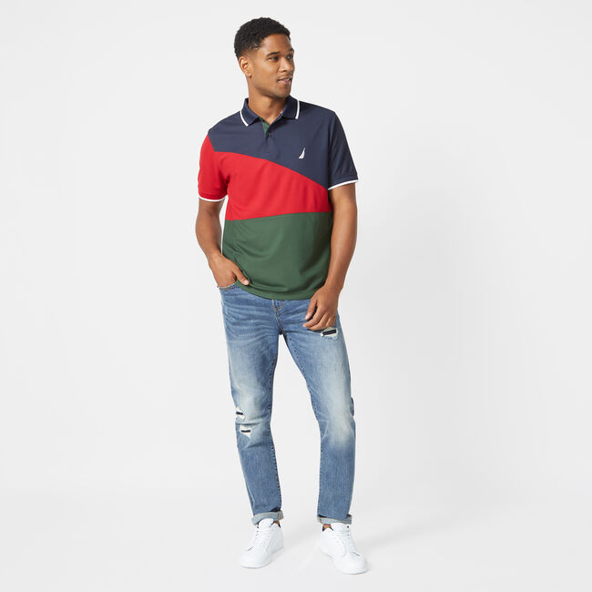 CLASSIC FIT NAVTECH COLORBLOCK POLO,Navy,large