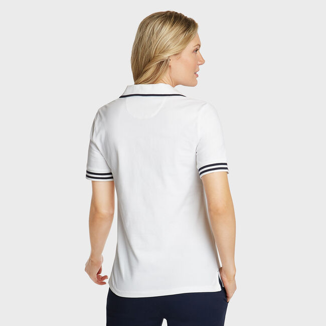 Elbow Sleeve Classic Fit Polo,Bright White,large