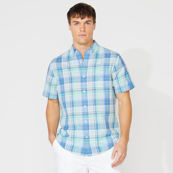 CLASSIC FIT PLAID LINEN SHIRT - Varsity Blue Wash