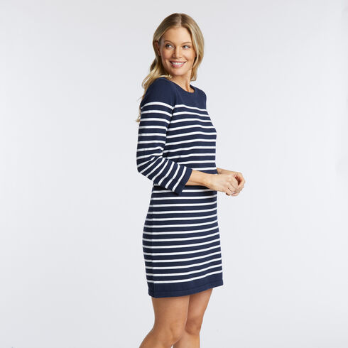 LACE UP BACK STRIPE SWEATER DRESS - Deep Sea