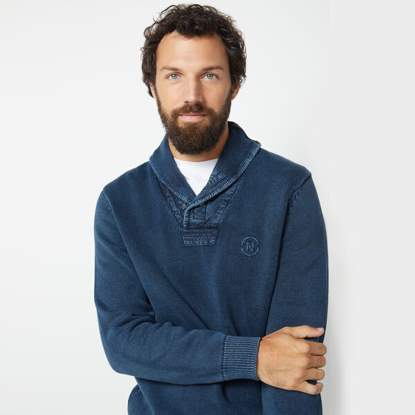 NAUTICA JEANS CO. ENZYME WASHED SHAWL COLLAR SWEATER - True Navy
