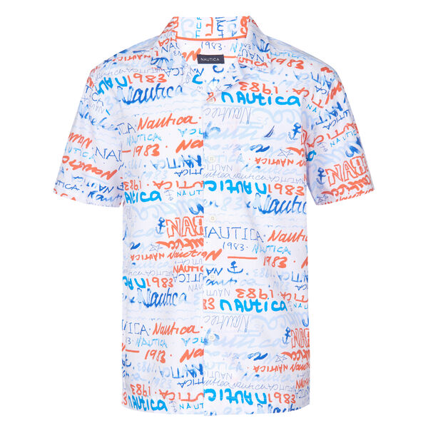 BOYS' MARCELO ALL OVER PRINTED SHORT SLEEVE WOVEN SHIRT (8-20) - Livng Coral